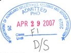Port of entry stamp